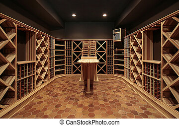 Butcher block wine cellar with wood table