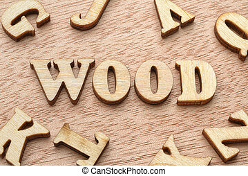 Wood word wooden letters
