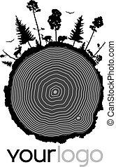 wood. yourlogo.01 - Cut of a tree, tree rings, stump, tree ...