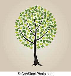 Wood7 - Tree with a roundish crone. A vector illustration