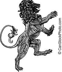 Woodblock style heraldic lion - An original illustration of...