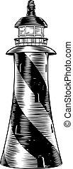 Woodblock style light house