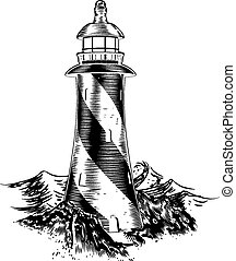 Woodblock style lighthouse - A lighthouse in a vintage...