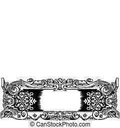 Woodblock style vintage frame