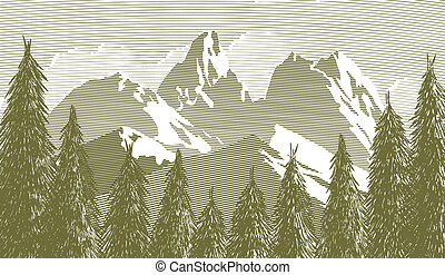 woodcut, árbol, y, mountainscape