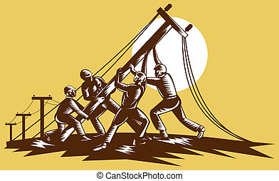 woodcut, électricité, ouvriers ligne, reteo, haut, fait, équipe, poste, style., élévation