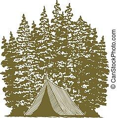 woodcut, acampamento, gráfico