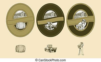 woodcut, agricultura, etiquetas