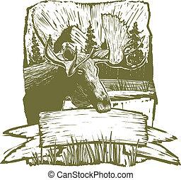 woodcut, alces, desenho