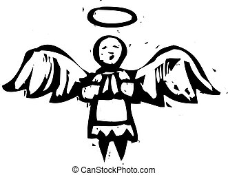 Christmas Angel with halo in woodcut style.