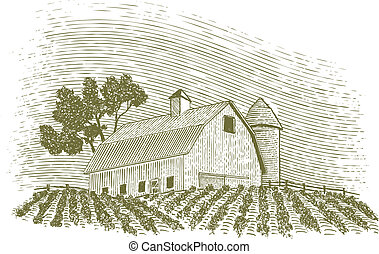 Woodcut Barn and Silo - Woodcut-style illustration of a barn...