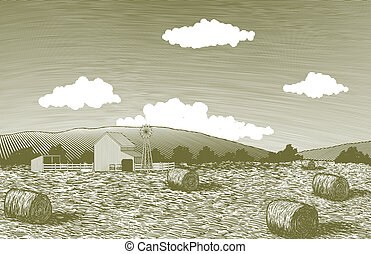 Woodcut Barn Scene