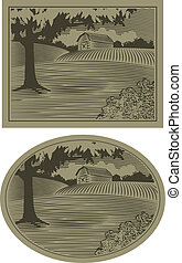 WoodCut Barn Scene - Woodcut style illustration of a rural...