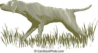 Woodcut Bird Dog - Woodcut-style illustration of a bird dog ...