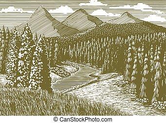 woodcut, bjerg stream