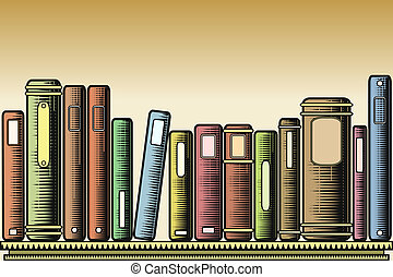 Woodcut books - Editable vector illustration of books on a...