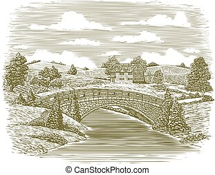 Woodcut Bridge Scene