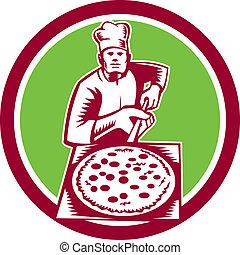 woodcut, buccia, presa a terra, cerchio, fabbricante, pizza