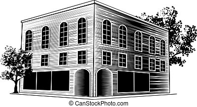 Woodcut Building - Woodcut style illustration of a downtown...