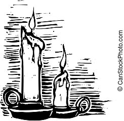 Two christmas candles with banner in woodcut style.