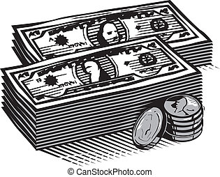 Woodcut Cash - Two stacks of bills with coins on the side