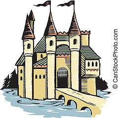 Woodcut Castle - A large castle in a woodcut style