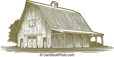 woodcut, celeiro, ícone