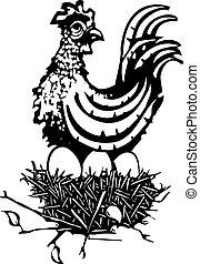 Woodcut Chicken on nest
