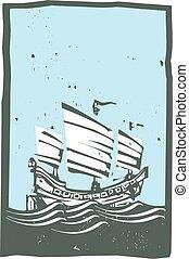 Woodcut Chinese Junk Sailing Day