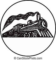 woodcut, cima, trem vapor, vinda, círculo, locomotiva