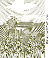 woodcut, contadino
