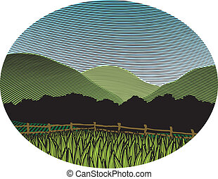 Woodcut Country Scene Color