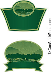 Woodcut Country Scene Label