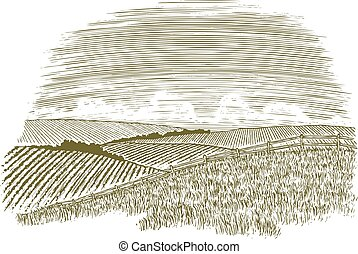 Woodcut Countryside Fence Row - Woodcut illustration of a...