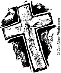 Woodcut Cross - A black and white woodcut style drawing of a...