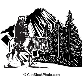 Woodcut Death on Mountain Path - Woodcut Death riding a ...