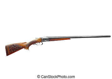 woodcut decorated hunting rifle