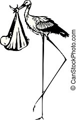 Woodcut delivery Stork