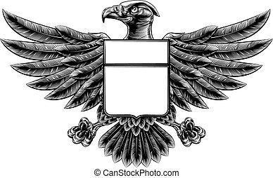 Woodcut Eagle Shield