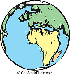 An image of the Earth in the style of a woodcut.