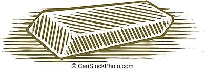 Woodcut Eraser - Woodcut illustration of an eraser.
