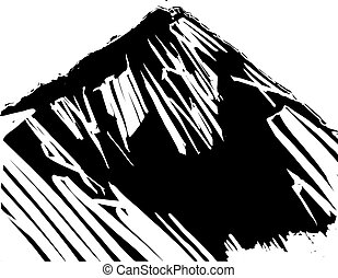 Woodcut Expressionistic Mountain against white sky