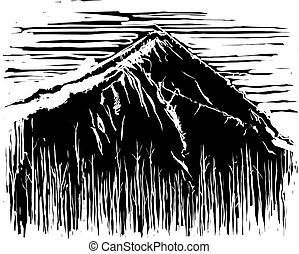 Woodcut Expressionistic Mountain with burned forest