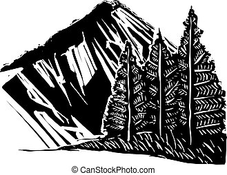 Woodcut Expressionistic Mountain - Woodcut Expressionsitic ...