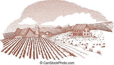 Woodcut Farm Landscape - Woodcut style illustration of a...