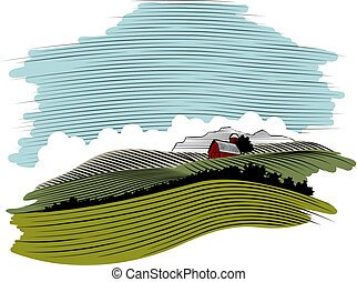 WoodCut Farm Scene Landscape - Woodcut style illustration of...