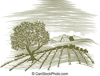 Woodcut Farm Scene - Woodcut style illustration of a farm...