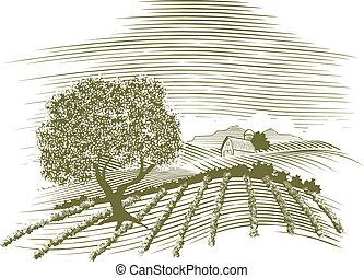 Woodcut Farm Scene - Woodcut style illustration of a farm...