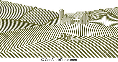 Woodcut Farm Without Sky - Woodcut style illustration of a ...