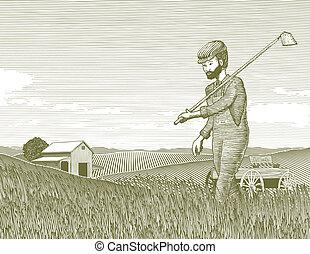 Woodcut Farmer and Field